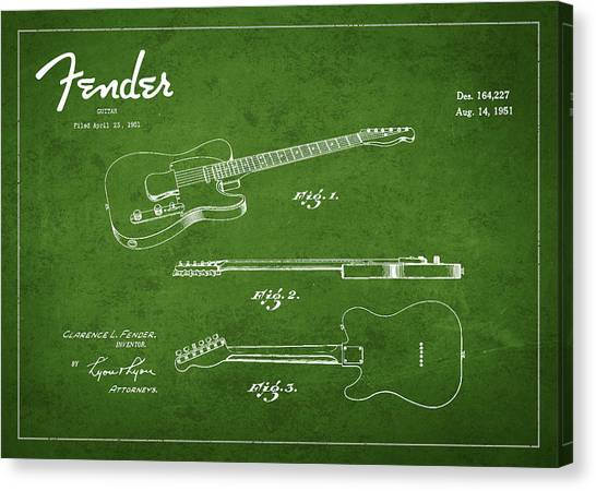 Fender Guitars Canvas Print - Vintage Fender Guitar Patent Drawing From 1951 by Aged Pixel