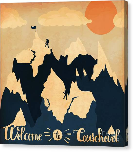 Ice Climbing Canvas Print - Vintage Handlettering Poster On The by Alena Dubinets