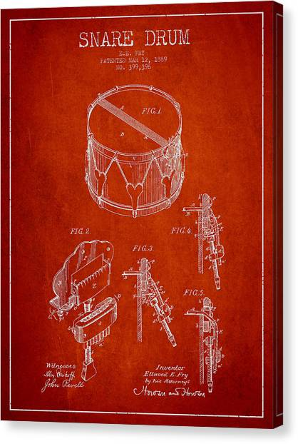 Snares Canvas Print - Vintage Snare Drum Patent Drawing From 1889 - Red by Aged Pixel