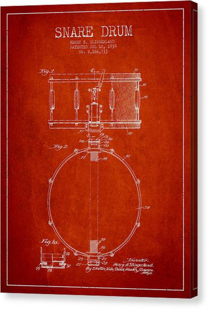 Snares Canvas Print - Snare Drum Patent Drawing From 1939 - Red by Aged Pixel