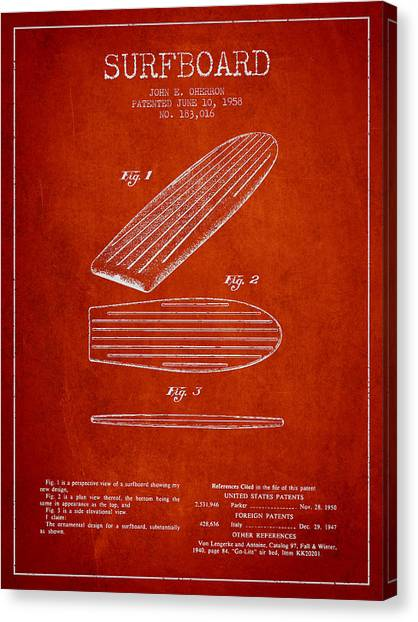 Watersports Canvas Print - Vintage Surfboard  Patent From 1958 by Aged Pixel