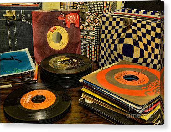 Jukebox Canvas Print - Vintage Vinyl by Paul Ward