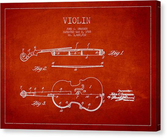 Fiddles Canvas Print - Vintage Violin Patent Drawing From 1928 by Aged Pixel