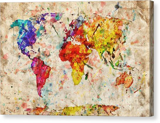 Vintage World Map Canvas Print