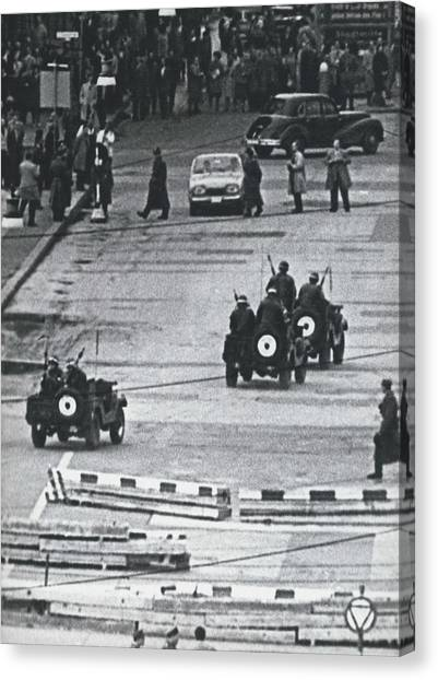 Volkspolice Tried To Hinder The American Traffic In Berlin Canvas Print by Retro Images Archive