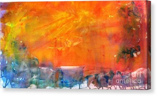 Wagon Train At Sunset Canvas Print