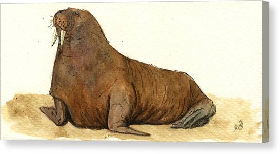 Ivory Canvas Print - Walrus by Juan  Bosco