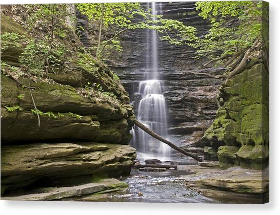 Waterfall At Matthiessen State Park Canvas Print