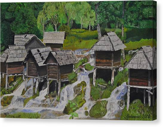 Watermill On Pliva Canvas Print by Ferid Jasarevic
