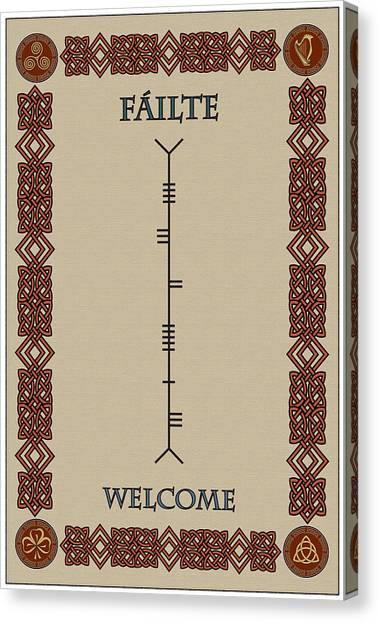 Welcome Written In Ogham Canvas Print