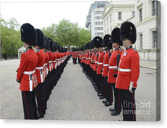 Royal Guard Canvas Print - Welsh Guards Stand In Formation by Andrew Chittock