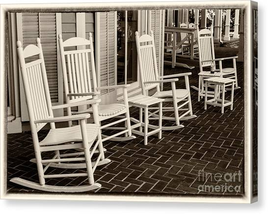 Superbe Red Rocking Chair Canvas Print   White Rocking Chairs By Iris Richardson