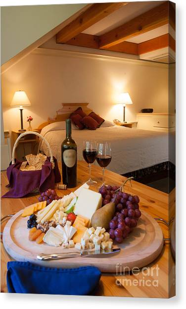 Wine And Cheese In A Luxurious Hotel Room. Canvas Print
