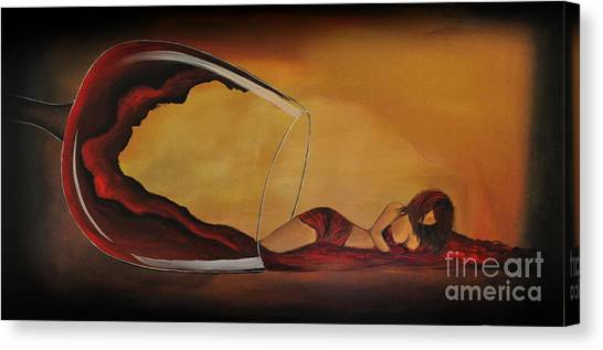 Wine-spilled Woman Canvas Print