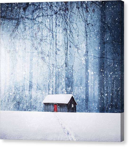 House Canvas Print - Winter by Bess Hamiti