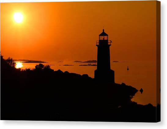 Winter Island Lighthouse Sunrise Canvas Print