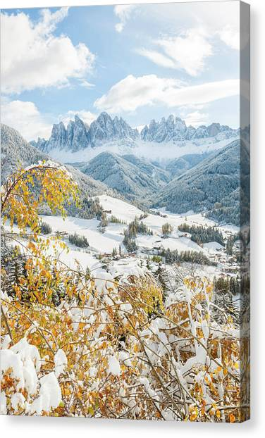 Dolomites Canvas Print - Winter Snow, St Magdalena Village by Peter Adams