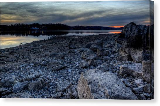 Winter Sunset On The Lake Canvas Print