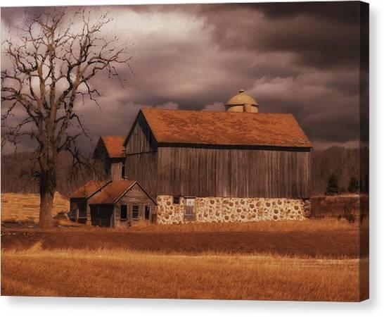 Dirt Road Canvas Print - Wisconsin Barn by Jack Zulli