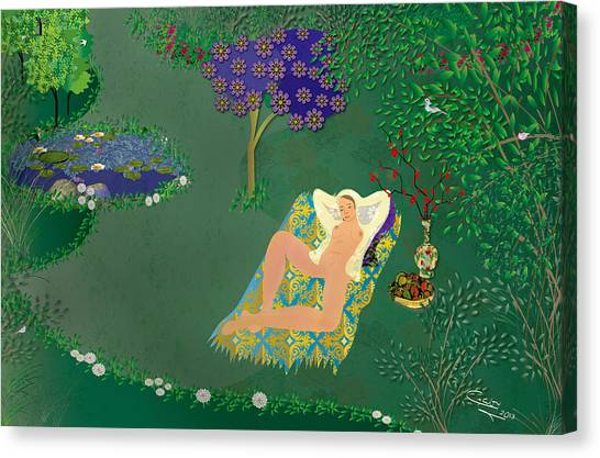 Woman In Garden With Pond Canvas Print