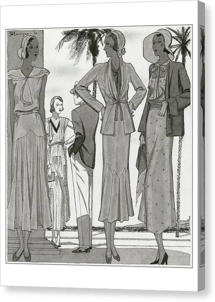 Women Wearing Designer Dresses Canvas Print by Pierre Mourgue