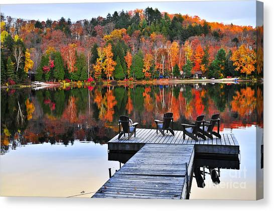 Wilderness Canvas Print - Wooden Dock On Autumn Lake by Elena Elisseeva
