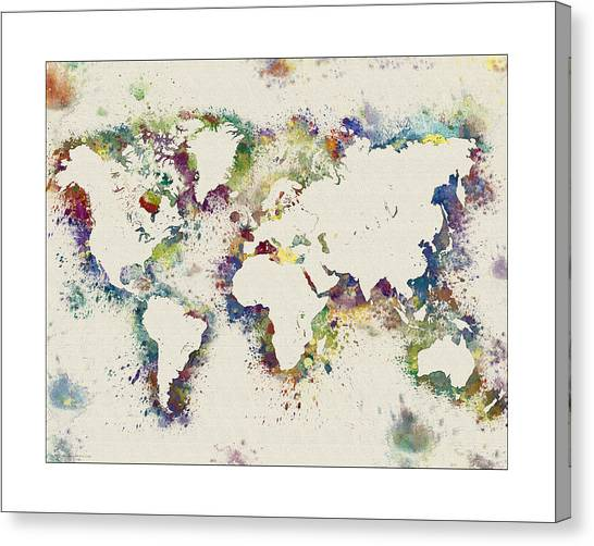 World map paint splashes canvas prints fine art america world map paint splashes canvas print world map watercolor by watercolormaps chris and mary ann gumiabroncs Gallery