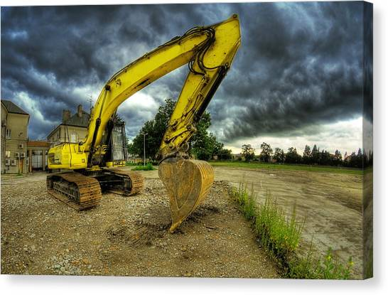 Bulldozers Canvas Print - Yellow Excavator by Jaroslaw Grudzinski