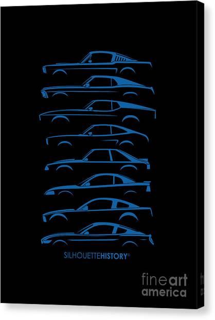 Ponies Canvas Print - American Stallion Silhouettehistory Blue by Gabor Vida