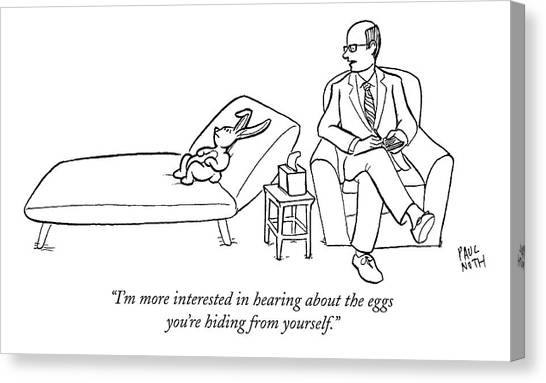Easter Bunny Canvas Print - I'm More Interested In Hearing About The Eggs by Paul Noth