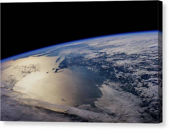 Newfoundland And Labrador Canvas Print - View Of Planet Earth From Space Showing by Panoramic Images
