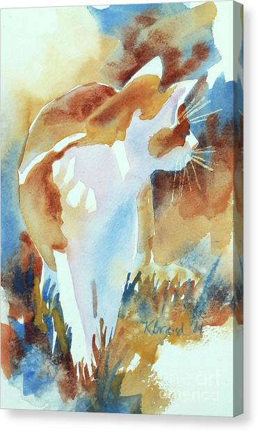 Camouflage Canvas Print - 2004 Cat On The Prowl  I  by Kathy Braud
