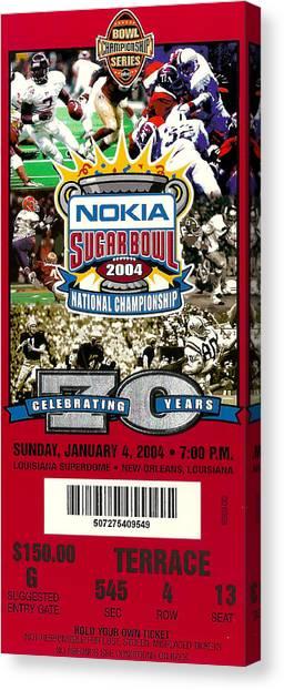 Oklahoma State University Canvas Print - 2004 National Championship Ticket - Lsu Vs Oklahoma by David Patterson