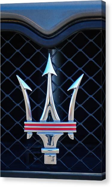 2005 Maserati Gt Coupe Corsa Emblem Canvas Print