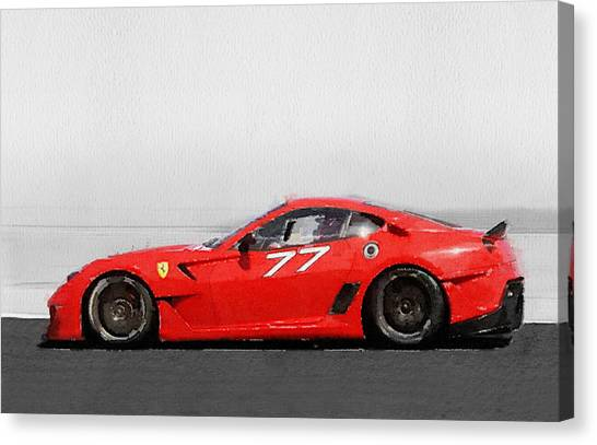 Ferrari Canvas Print - 2006 Ferrari 599 Gtb Fiorano Watercolor by Naxart Studio