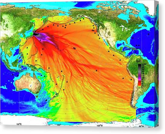 Tsunamis Canvas Print - 2011 Tsunami Height And Travel Times by Noaa/science Photo Library