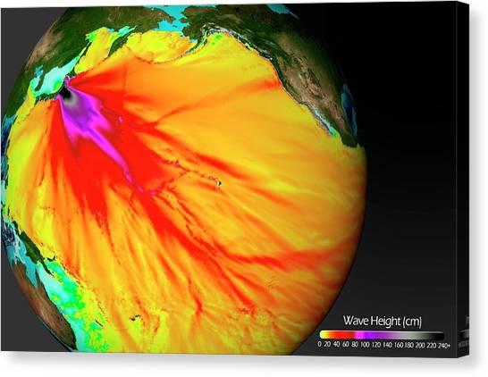 Tsunamis Canvas Print - 2011 Tsunami Wave Heights by Noaa/science Photo Library