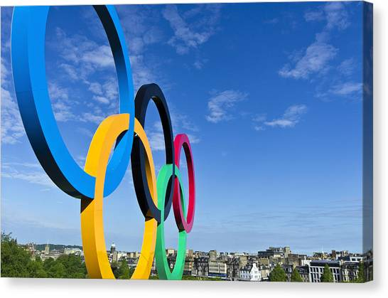 2012 Olympic Rings Over Edinburgh Canvas Print