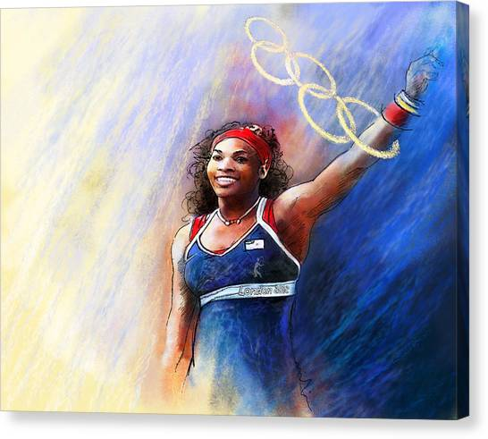 Serena Williams Canvas Print - 2012 Tennis Olympics Gold Medal Serena Williams by Miki De Goodaboom