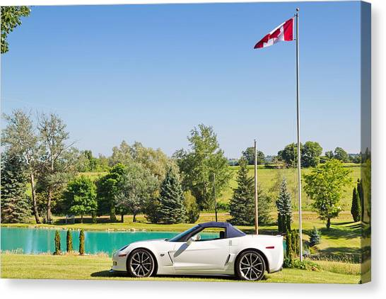 2013 Corvette 427 Sixtieth Anniversary Special By Canadian Flag Canvas Print