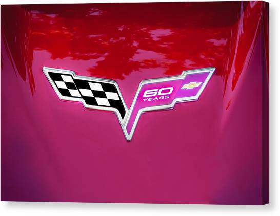 2013 Corvette 60th Anniversary Hood Logo Painted Canvas Print