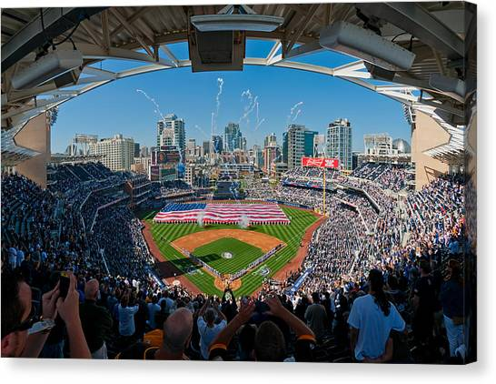 San Diego Padres Canvas Print - 2013 San Diego Padres Home Opener by Mark Whitt