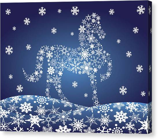 2014 Chinese Horse With Snowflakes Night Winter Scene Canvas Print