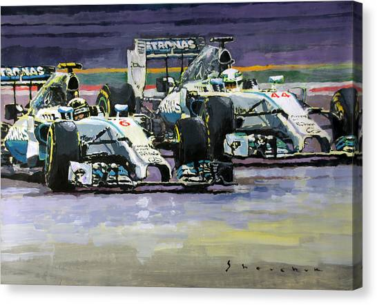 Papers Canvas Print - 2014 F1 Mercedes Amg Petronas  Lewis Hamilton Vs Nico Rosberg by Yuriy Shevchuk