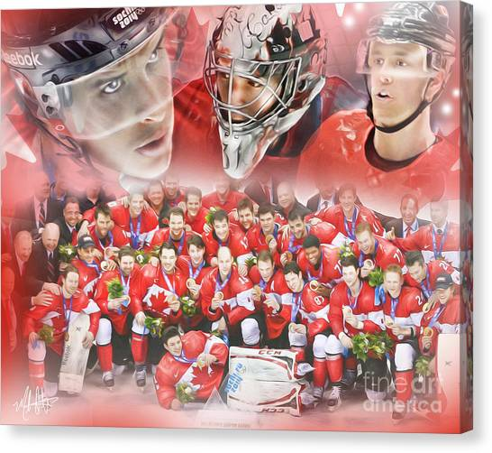 Canvas Print featuring the painting 2014 Team Canada by Mike Oulton 2ecc7a2bf