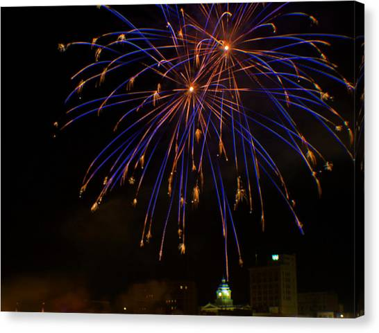 West Virginia University Wvu Canvas Print - 2014 Three Rivers Festival Fireworks Fairmont Wv 1 by Howard Tenke