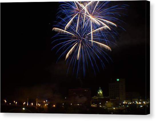 West Virginia University Wvu Canvas Print - 2014 Three Rivers Festival Fireworks Fairmont Wv 4 by Howard Tenke