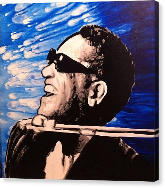 Jazz Canvas Print - 21x27 Ray Charles Original Painting by Ocean Clark