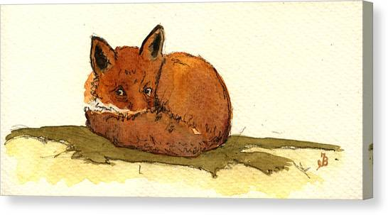 Sleeping Canvas Print - Red Fox by Juan  Bosco