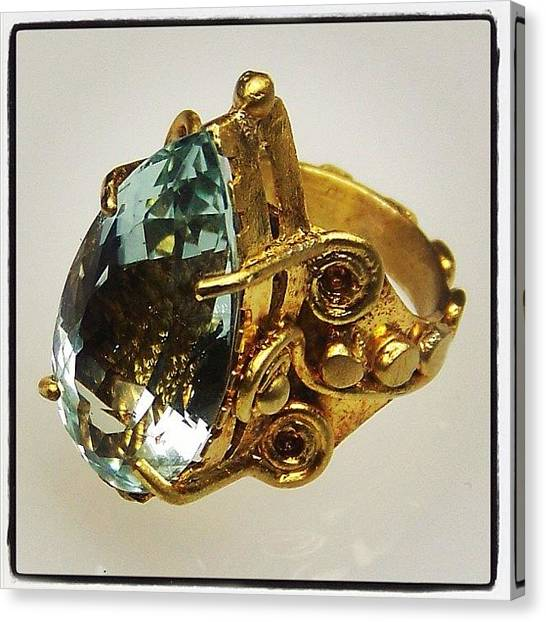 Gemstones Canvas Print - #22kt #gold #ring With 12.5ct by Daniel Icaza